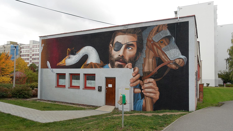 graffiti, tabor, mural, chemis, město, na zakázku, streetart, freehand, hus, žižka